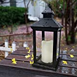 Bright Zeal BZN 14' Tall Vintage Decorative Lantern with LED Pillar Candle (Black, Batteries Included) - Waterproof Lanterns Large Lanterns Decorative Outdoor Lanterns - Hanging Candle Lantern Indoor