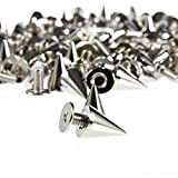 OULII 100pcs 7*9mm Metal Cone Spikes Screwback Studs DIY Leather Craft Punk Style Rivets (Silver)