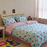 Norson Blue and Pink Princess Bedding Sets, Ice Cream Pattern Cartoon Bedding Sets, Kids Duvet Cover Set, Children's Bedding Set, Twin Full Size (Full)
