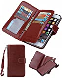 iPhone 7 Wallet case,iPhone 7 Wallet Case,Valentoria Premium Vintage Leather Wallet Case Magnetic Detachable Slim Back Cover Card Holder Slot Wrist Strap (iPhone 7, Brown)