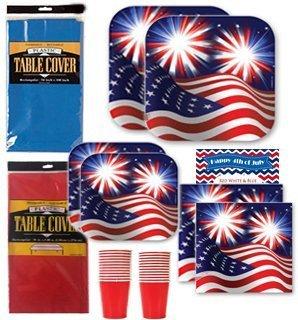 Patriotic Disposable Dinnerware Party Supplies Kit Bundle   Fireworks Stars   Stripes American Flag   Dinner Plates  Dessert Plates  Napkins  Cups  Patriotic Recipe   Table Covers  Serves 16