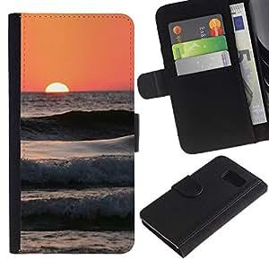 EuroTech - Samsung Galaxy S6 SM-G920 - Sunset Peach Beach Surf Sun Summer Waves - Cuero PU Delgado caso Billetera cubierta Shell Armor Funda Case Cover Wallet Credit Card