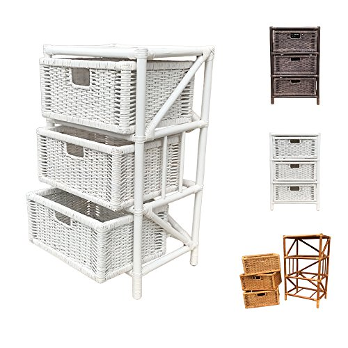 Rattan Chest Laundry Basket Storage Unit Jacky with Drawers (White) (Unique Wicker Baskets)