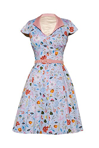Womens Vintage Pinup Style Colette Dress in Ice Blue First Frost Print (3X) by Pin Up Couture