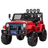 Uenjoy Electric Kids Ride On Cars 12V Battery Motorized Vehicles W/ Wheels Suspension, Remote Control, Music& Story Playing, Colorful Lights, Sunshine Model, Red