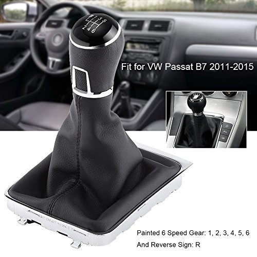 Manual 6 Speed Gear Shift Knob Gaiter Boot Cover Kit Black Leather Gear Stick Knob Cover for VW Passat B7 2011-2012
