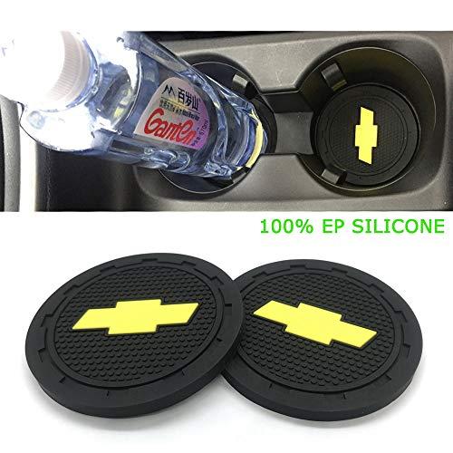Silicone 2 Pack 2.75 inch Car Cup Interior Coaster Accessories Anti Slip Cup Mat Chevrolet Silverado,Corvette,Cruze,Malibu,Epica, Aveo,Sail,Captiva,Camaro,Volt,etc All Models