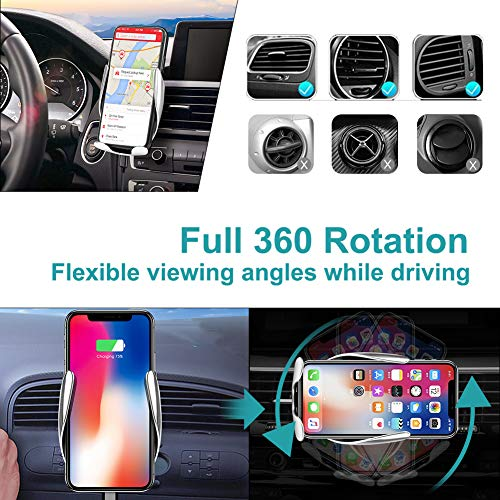 Wireless Car Charger Mount,YIVIDA 10W Qi Fast Charging Auto-Clamping Car Mount, Air Vent Car Phone Holder & QC3.1 Car Charger Compatible with iPhone X/Xs MAX/XS/XR/X/8/8+,Samsung S10/S10+/S9/S9+/S8