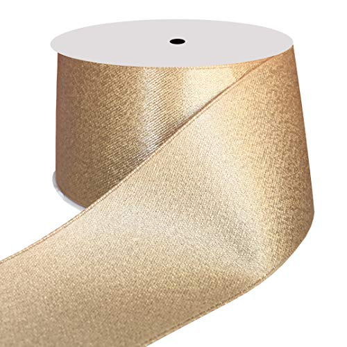 DUOQU 1-1/2 inch Wide Sparkle Satin Ribbon with Gold Glitter 10 Yards Roll Raw Silk