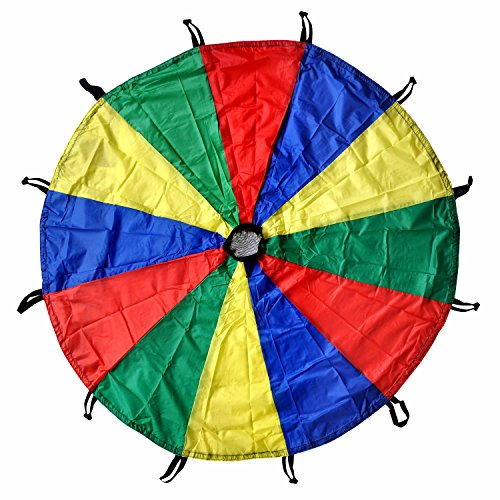 GSI Kids Play Parachute Rainbow Parachute Toy Tent Game for Children Gymnastic Cooperative Play and Outdoor Playground Activities (16 Feet)