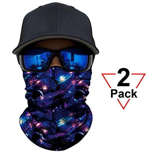 AXBXCX 2 Pack - Versatile Galaxy Print Balaclava Neckerchief Face Mask Bandanas Headband Sweatband for Outdoor Sport Music Festivals Raves Hunting Skiing Snowboarding Running 022