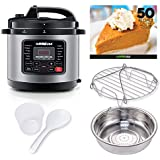 GoWISE USA GW22703 12-in-1 Electric Pressure Cooker with Accessories 1 Multifunctional Measuring Cup, Spoon Steam Rack and Basket, 6-QT, Stainless Steel