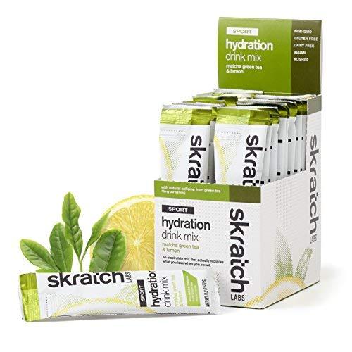 SKRATCH LABS Sport Hydration Drink Mix, Matcha Tea & Lemon (20 pack single serving) - Natural, Low Sugar, Electrolyte Powder Developed for Athletes and Sports Performance, Gluten Free, Vegan, Kosher