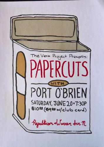 Papercuts - Live in Seattle 2009 - Rare Tour Advertising Poster - 10x14