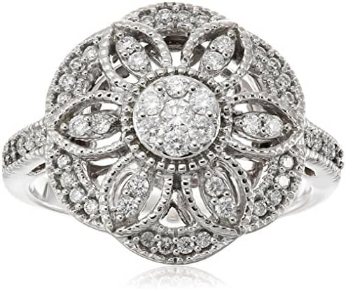 10k White Diamond Ring (3/8cttw, H-I Color, I2-I3 Clarity)