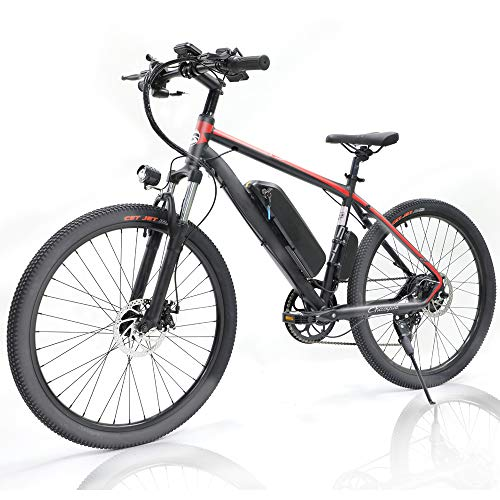 petreill 26 Inch 350W Electric Adult Mountain Bicycle 7 Speeds E-Bike 48V 10.4Ah Removable Waterproof Lithium Battery Assisted Electric Bike with Smart Multi Function LED Dashboard (Red)