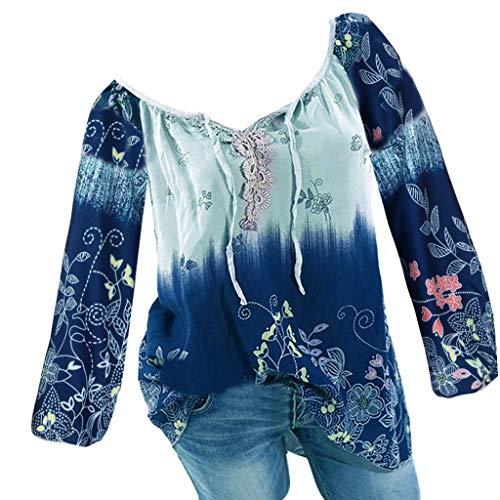 Goddessvan 2019 Women V-Neck Lace Printed Shirt Bandage Long Sleeves Plus Size Loose Tops Blouse Light Blue -