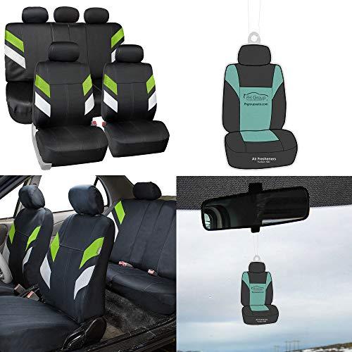 FH Group FB086115 Modern Edge Neoprene Seat Covers, Airbag & Split Ready, Green/Black Color