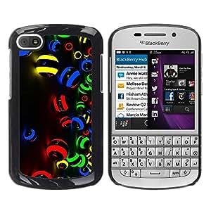 Paccase / SLIM PC / Aliminium Casa Carcasa Funda Case Cover para - Red Yellow Blue Black Dark Vibrant Art - BlackBerry Q10