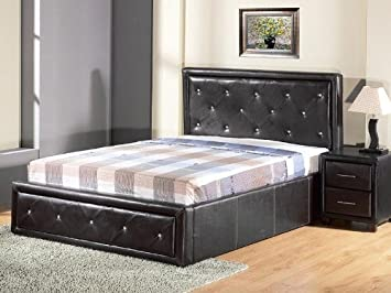 7b6c5216a09b Image Unavailable. Image not available for. Colour: Hollywood Crystal Gas  Lift Storage Bed 5ft King Size Black Faux Leather