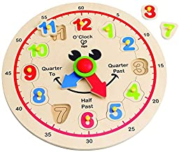 Hape Happy Hour Clock Kid\'s Wooden Time Learning Puzzle