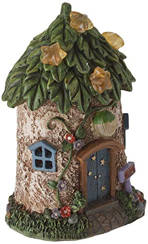 Hi-Line Gift Ltd Fairy Garden House with Leaf Roof and Stars-Solar LED  Lights