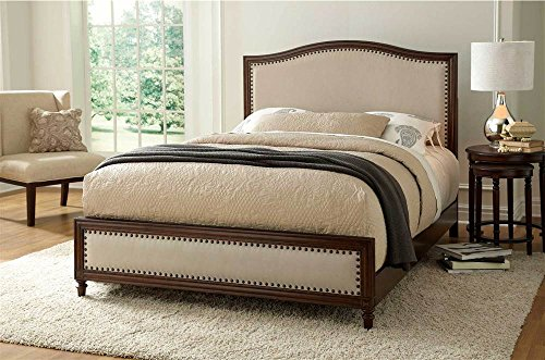 Grandover Platform Bed with Detailed Wooden Frame and Cream Upholstery, Espresso Finish, King
