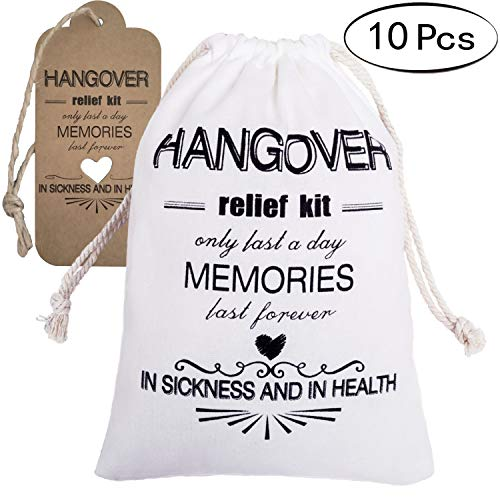 Letjolt 10 Pcs Hangover Bags for Bachelorette Party Relief Kits Bags for Bachelor Hangover Party Hangover Kit Bags for Party Favor Bags for Wedding Welcome Bags(5×7 inch)