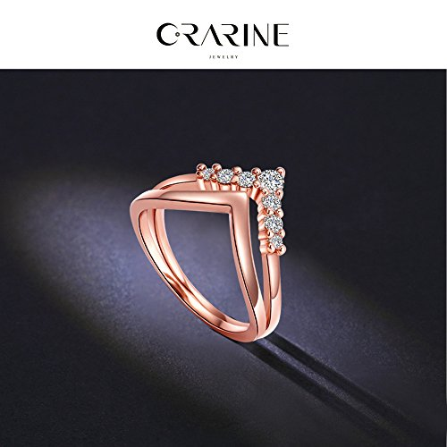 CRARINE Women's Stacking Ring Pave Cubic Zircon Eternity Promise Ring Flower Top Infinity Wedding Band - 1#Rose-gold (6)… by CRARINE (Image #3)