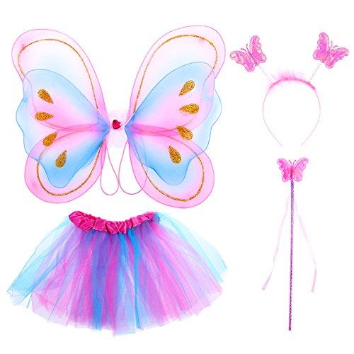 OULII 4piezas conjunto de disfraz de niña de princesa de hadas alas de mariposa de arco iris tutú falda hada varita y...
