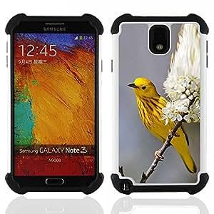 """SAMSUNG Galaxy Note 3 III / N9000 / N9005 - 3 en 1 impreso colorido de Altas Prestaciones PC Funda chaqueta Negro cubierta gel silicona suave (Yellow Spring Blossom Flores"""")"""