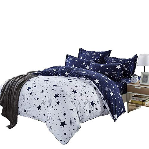 Kids Cotton Blend Star Twin Size Bedding Sheets Set Bed Pillowcase Bedding Duvet Cover Set, Without Comforter. (1 Quilt Cover, 1 Flat Sheet, 1 Pillowcase)