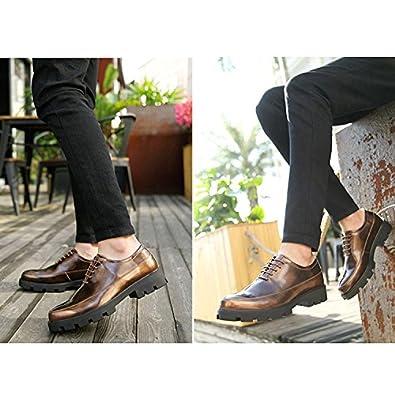 CHNHIRA Men's Dress Oxfords Hidden Elevator Leather Shoes