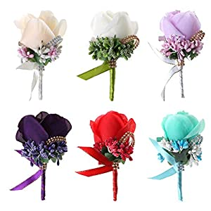 cici store Wedding Rose Boutonniere Corsage for Bridal Groom,Artificial Flowers Brooch with Pin and Clip for Wedding Quinceanera Accessories (Purple) 116