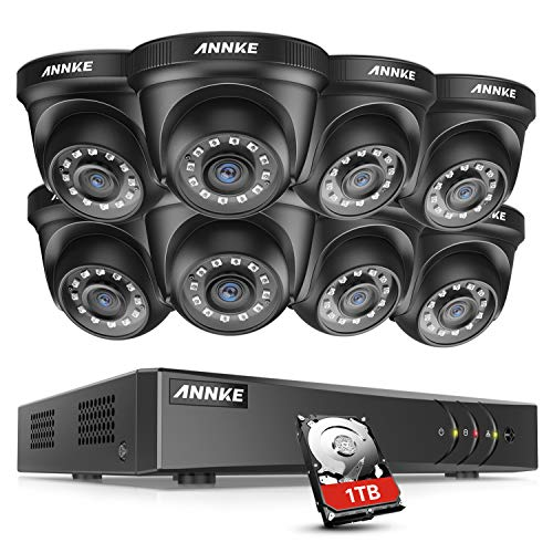 ANNKE Security DVR System 8 Channel 1080P Lite H.264+ DVR with 1TB HDD and (8) HD 1080P Weatherproof CCTV Dome Cameras, Smart Playback, Instant email Alert with Image