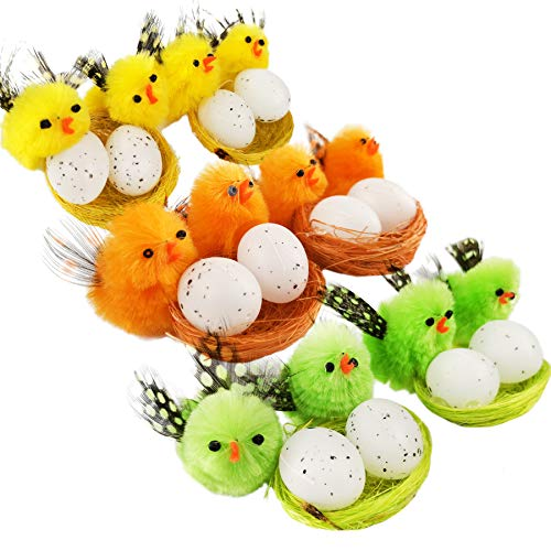 Athoinsu Colorful Easter Chenille Chicks with Roosts Fluffy Soft Plush Toys Set Spring Egg Bonnet Decorations Kids Gifts, 1.5 Inches(Style 1) (Easter Bonnet Ideas To Make At Home)