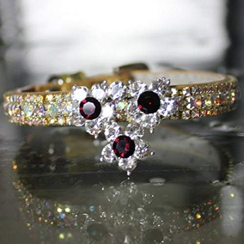 (Cat Collars, White Diamante Crystal Rhinestones with Red Garnet Flower with AB stones - January Zodiac Cat Pet Jewelry Collar Necklace, Rockstar Pet Collars TM, Sizes XS-S USA)