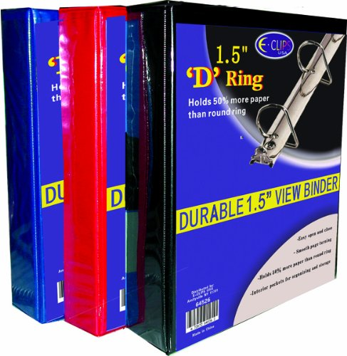DDI 1288224 Binder - D Ring - 1.5 in. - Vinyl assorted colors Case Of 36