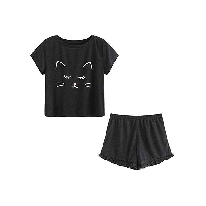 Amazon.com: Camiseta de manga corta con estampado de gato ...