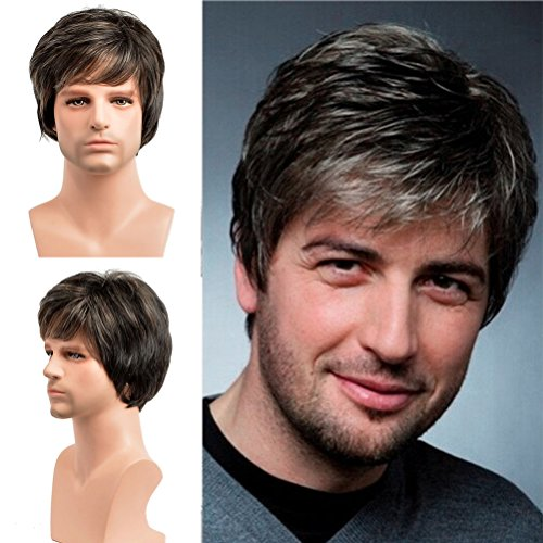 (BERON Short Straight Natural Hair Replacement Synthetic Wigs for Men Come with Wig Cap (Multi Color))