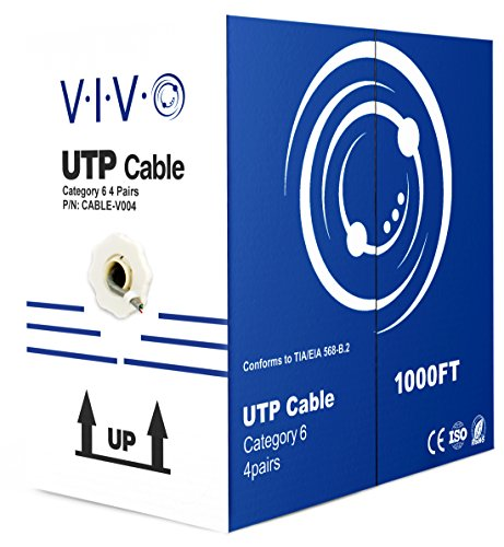 VIVO Grey 1,000 ft Bulk Cat6 (CCA) Ethernet Cable 23 AWG | Wire UTP Pull Box 1,000ft Cat-6 (CABLE-V004) (Unshielded Twisted Crossover Cable Pair)