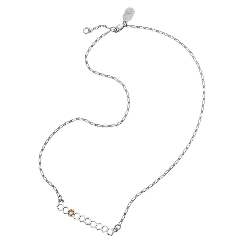 Mignon Faget HIVE Jeweled Bar Necklace Horizontal Sterling Silver with Honey Crystal, 17''