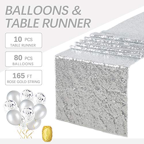 B-COOL Silver Sequin Table Runner Table Runners Pack Of 10 Sequin Table Runners 14 x80 Glitz Table Linens for Wedding Decor Christmas Runner Party (Christmas Linens Table Decor)