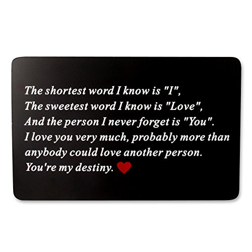 Vanfeis Metal Engraved Wallet Insert Card - Wedding Anniversary Gifts for Him - Funny Birthday Gift Ideas for Men - Unique Engagement Present for Groom and Novelty Husband, Boyfriend, Deployment Gift -