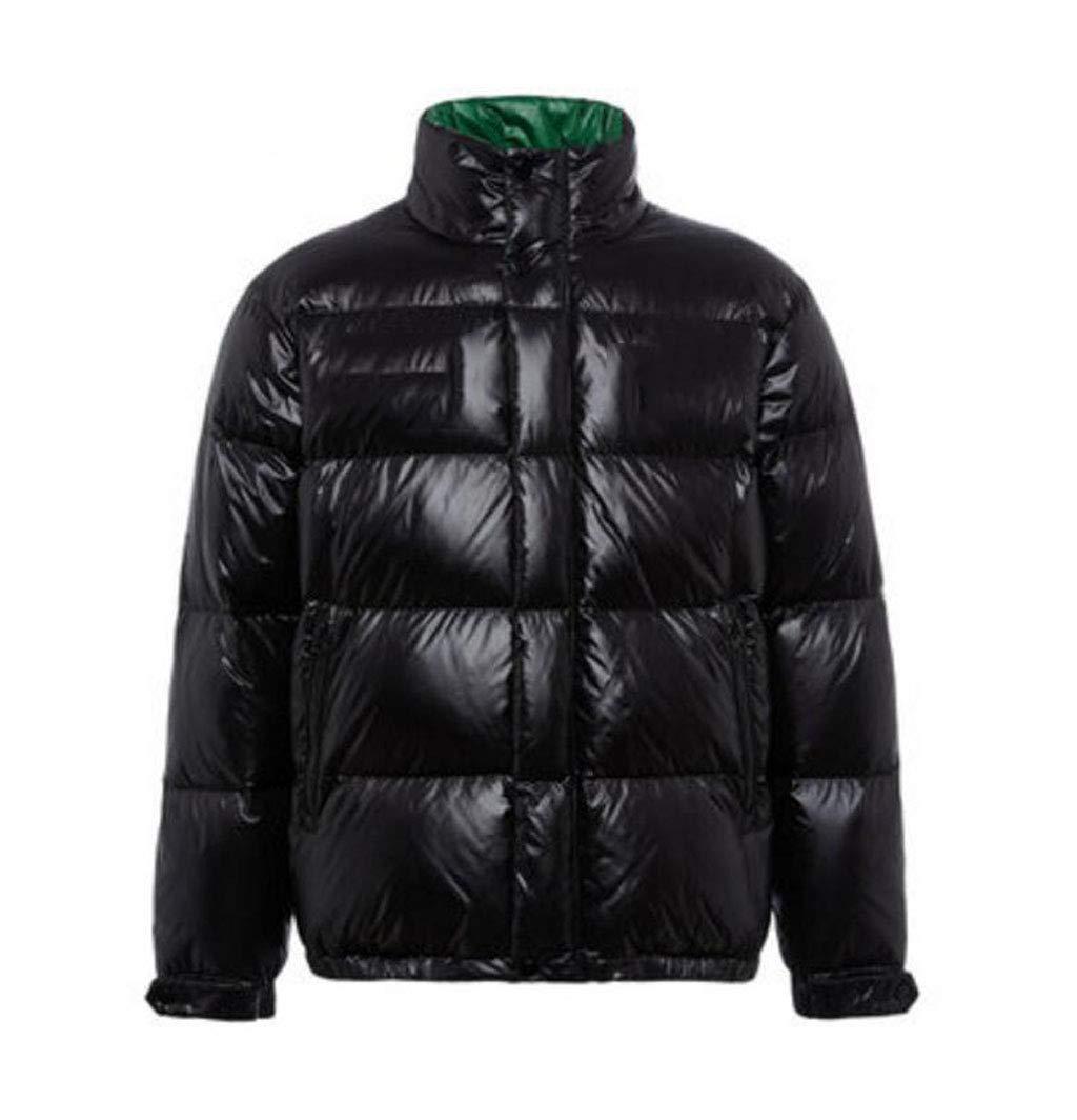 NOIR L ACVXZ Veste de Sport d'hiver pour Hommes avec col Droit et Veste en Coton épais (Couleur   argent, Taille   L)