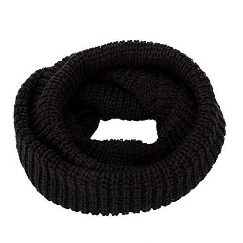 oft Thick Knitted Scarf Winter Warm Wrap Circle Loop Knit Infinity Scarves (black) ()