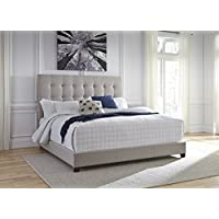 Contemporary Beige Color King Upholstered Bed