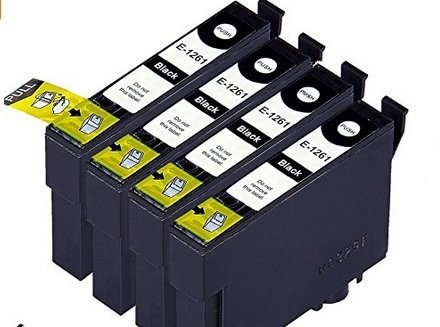 Inkforever 5 Pack Only Black Ink Cartridges for Stylus Nx330, Nx430, Workforce 435, 520, 545, 630, 633, 635, 645, 840, 845, 60, 7010, 7510 (T126- Only Bk,