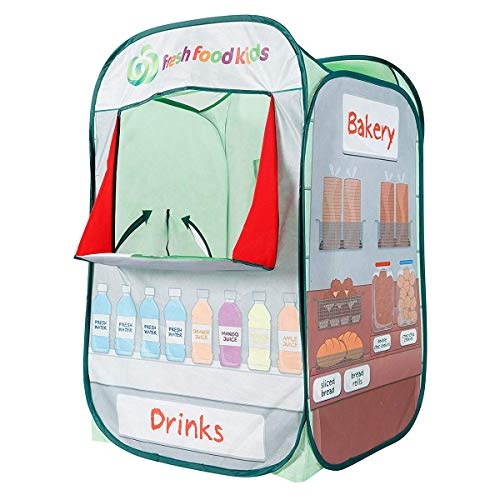Alvantor Kids Tent Drinks & Bakery Puppet Theater Kitchen Play-House Grocery Market Pop Great Game and Toy, Multicolor, 26' x 23' x 38'