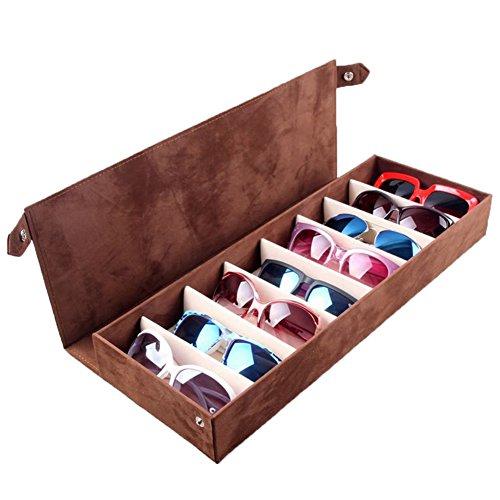 SweetyLady 8 Grids Deer Leather Eyeglass Sunglass Boxes Eyewear Storage Organizer Jewelry Display - To Buy Place Best Designer Sunglasses